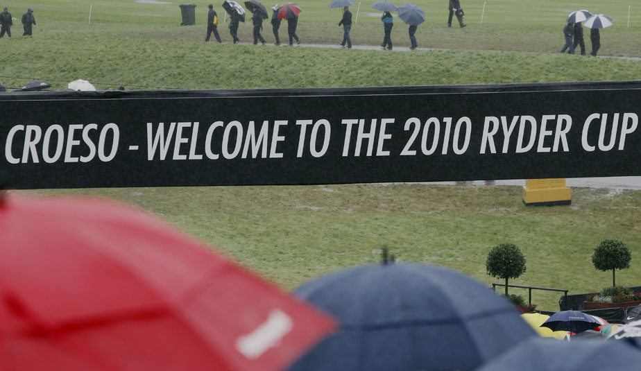 The scene during the first round of the Ryder Cup, as rain inundated Celtic Manor.