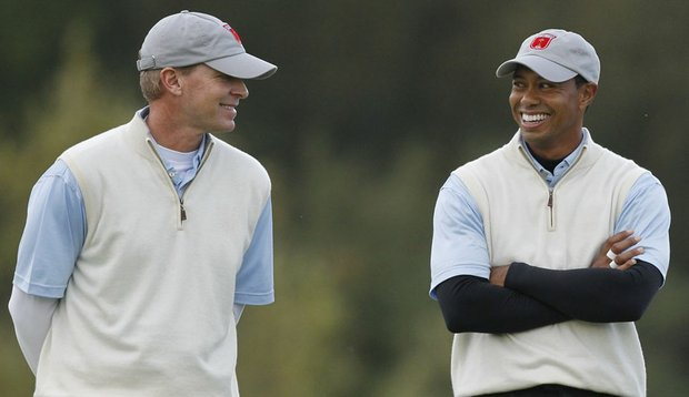 Steve Stricker and Tiger Woods teamed up for morning four-balls at the Ryder Cup.
