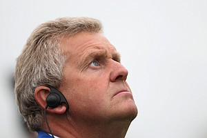 European Team Captain Colin Montgomerie watches the play during the 2010 Ryder Cup at the Celtic Manor.