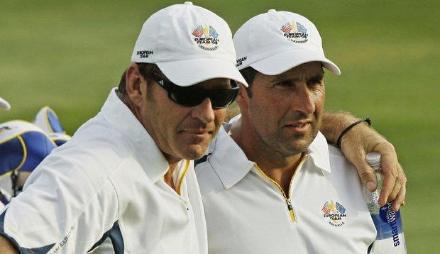 Jose Maria Olazabal (right) with 2008 Euruopean Captain Nick Faldo.