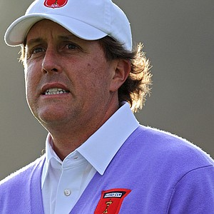 Phil Mickelson on the 16th tee during the second day of the 2010 Ryder Cup.