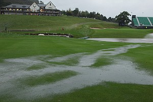 Rain falls on the 18th hole during the weather delay prior to the restart of the fourball and foursomes matches during the 2010 Ryder Cup.