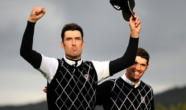 Ross Fisher (left) and Padraig Harrington celebrate at the 2010 Ryder Cup