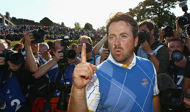 Graeme McDowell celebrates his 3 and 1 win to secure victory for Team Europe on the 17th green in the singles matches during the 2010 Ryder Cup at the Celtic Manor. McDowell also won twice on the European Tour and claimed stateside wins at the U.S. Open and the Chevron World Challenge, where he took down Tiger Woods in the memorable final round.