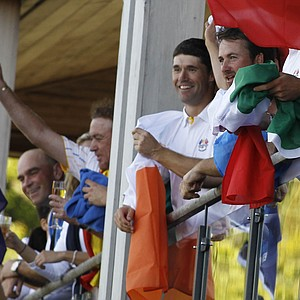 Members of the European team celebrate a Ryder Cup victory.