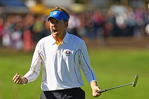 Ian Poulter after winning his singles match Monday at the Ryder Cup.