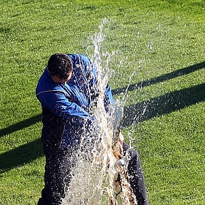 Martin Kaymer hits out of the water on the fifth hole at Celtic Manor.