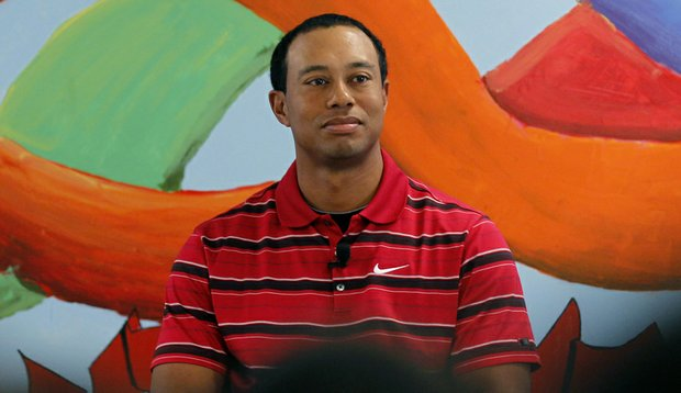 Tiger Woods during his visit to the ninth grade class at Cesar Chavez Charter High School in Washington D.C.