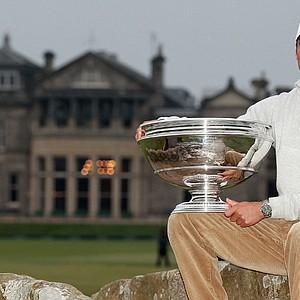 Martin Kaymer holds the trophy after his victory at the Alfred Dunhill Links Championship at The Old Course.