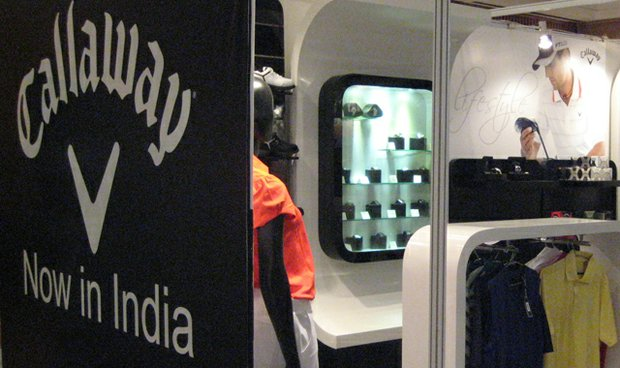 A common Callaway merchandise display in India.