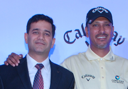 Vivek Mehta, general manager for Callaway Golf India, and Jeev Milkha Singh, Callaway brand ambassador and PGA Tour professional.