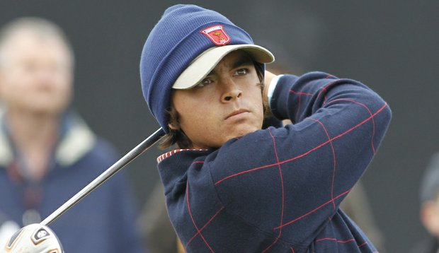 Rickie Fowler hits a shot during the Ryder Cup.