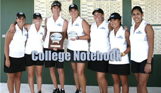 Daytona State College after winning the Lady Falcon Invitational. From left: Cassie Cleary, Kelly Miller, head coach Laura Brown, Ericka Schneider, Amy West, Mitsuki Katahira, assistant coach Ashley Aguilera.