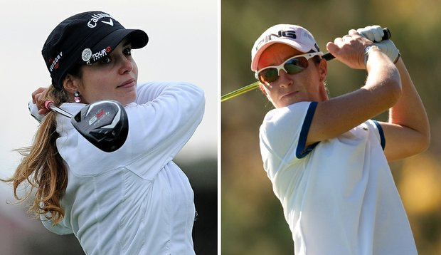 Beatriz Recari, left, and Gwladys Nocera lead by one shot at the CVS/pharmacy LPGA Challenge.