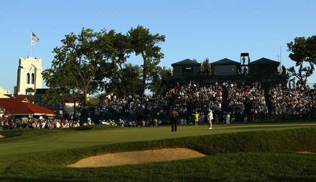 A general view of the 18th green during the 2003 U.S. Open on the North Course at Olympia Fields Country Club.