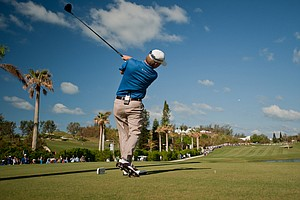 David Toms tees off on the second hole Tuesday at the PGA Grand Slam of Golf.
