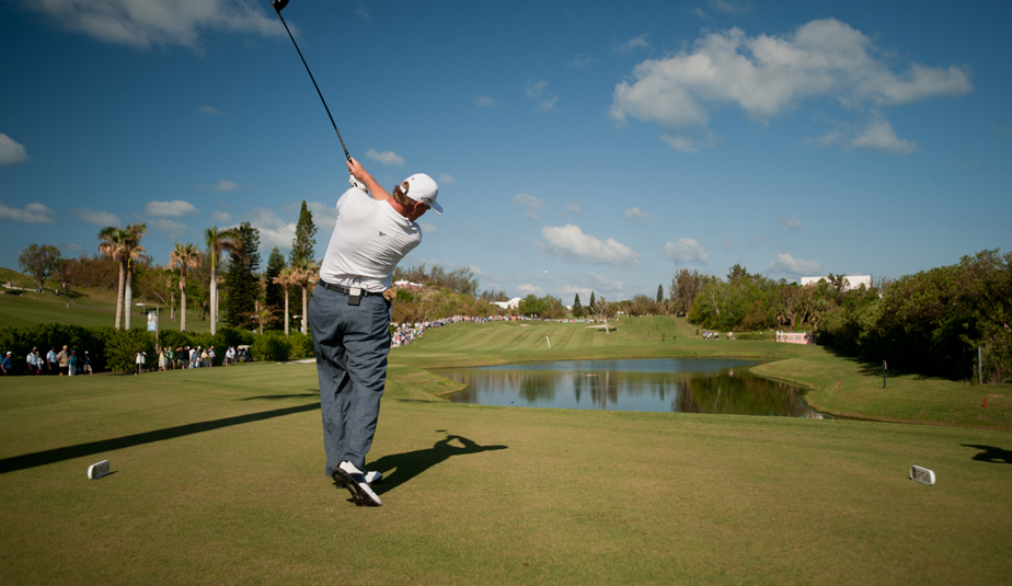 Ernie Els tees off on the second hole during Round 1 of the PGA Grand Slam of Golf.