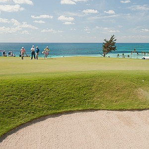 Martin Kaymer blasts out of a bunker on the ninth hole at Port Royal Golf Course in Bermuda.