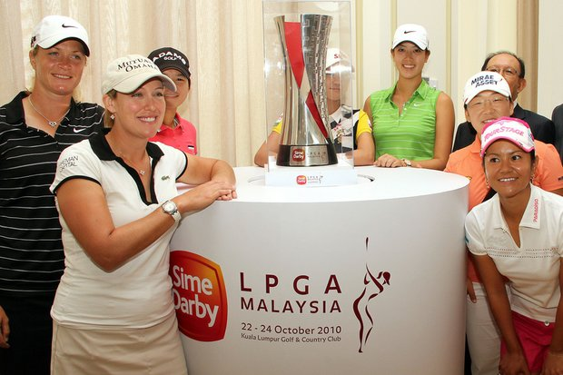 From left: Suzann Pettersen, Cristie Kerr, Yani Tseng, Na Yeon Cho,  Michelle Wie, Jiyai Shin and Ai Miyazato during a press conference before the Sime Darby LPGA event in Kuala Lumpur, Malaysia.