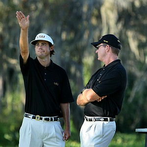 Louisiana State University's Ken Looper at No. 2 on Sunday with coach Chuck Winstead.