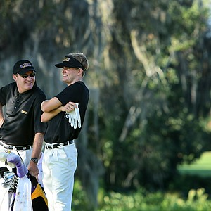 Louisiana State University's John Peterson at No. 2 on Sunday with coach Chuck Winstead.