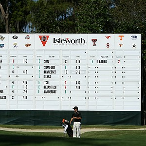 The leaderboard at No. 18 on Sunday during Round 1 of the Isleworth Collegiate Invitational.