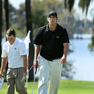 LSU's Andrew Loupe and UCF's Brad Schneider, left, after finishing their round on Sunday.