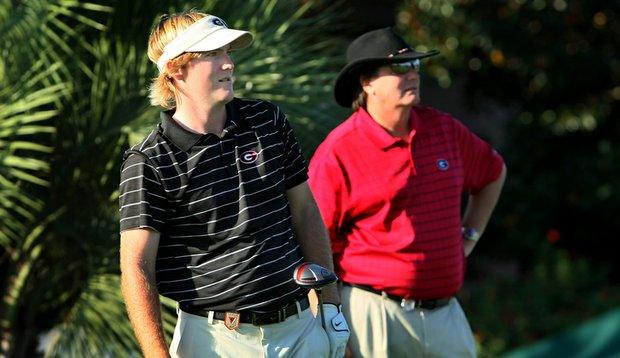 Georgia senior Russell Henley and Bulldogs coach Chris Haack during Round 1 at the Isleworth Collegiate.