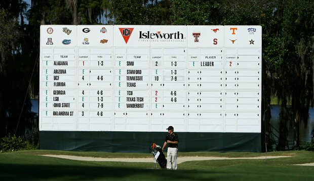 The scoreboard is seen during the first round of the Isleworth Collegiate Invitational.