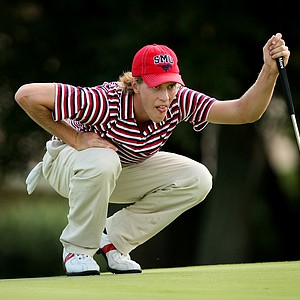 SMU's Aaron Stewart, son of Payne Stewart lines up a putt at No. 13.