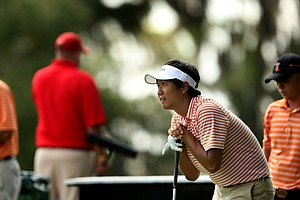 Florida's Phillip Choi watches his tee shot at No. 18.