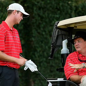 Georgia Coach talks with player Harris English during the 2010 Isleworth Collegiate at Isleworth Country Club.
