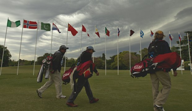 Storm clouds roll in during Day 2 of the World Amateur Team Championship.