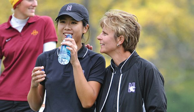 Northwestern coach Emily Fletcher, with Wildcats player Innapha Tantanavivat in 2008.