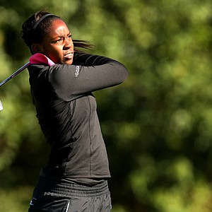 Audrey Monssoh hits her shot at No. 3, she posted an opening round 79.