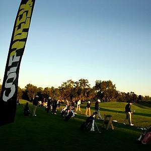 Junior boys and girls on the range prior to the Golfweek Junior Invitational.
