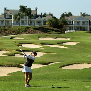 Samantha Wagner hits an intimidating looking tee shot at No. 9 on the Independence Course.