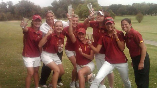 The Iowa State Cyclones celebrate after winning the Challenge at Onion Creek.