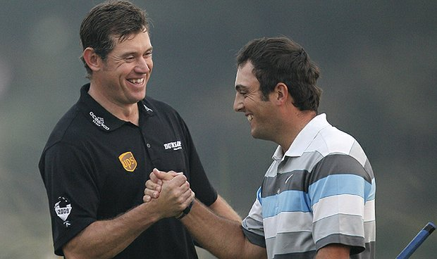 Francesco Molinari of Italy, right, is congratulated by Lee Westwood of England after winning the 2010 HSBC Champions at the Sheshan International Golf Club in Shanghai, China.
