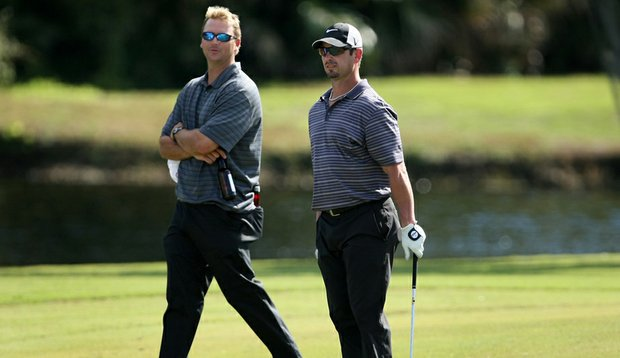 MLB players A.J. Pierzynski, left, and Aaron Rowand during Round 1 of the Children's Miracle Network Classic.
