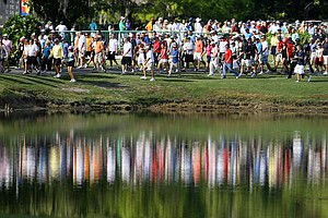 The gallery following Rickie Fowler during the third round.