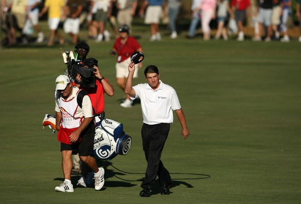 Roland Thatcher walks up No. 18 during the final round. Thatcher secured his PGA Tour card after placing solo second.