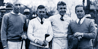 At the first Masters in 1934, from left: G. Sargent, Errie Ball, Charlie Yates (who diedin 2005, the second-to-last survivor of the first Masters) and host Bobby Jones Jr.