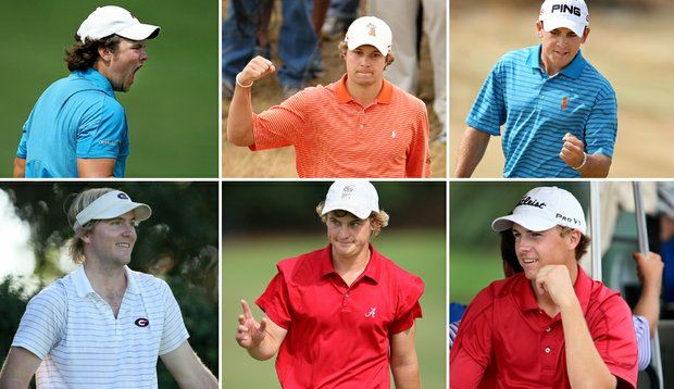 (Top row, from left) Patrick Reed, Peter Uihlein, Scott Langley, (bottom row, from left) Russell Henley, Bud Cauley and Jordan Spieth were among the 16 players invited to participate in a Walker Cup practice session in January.