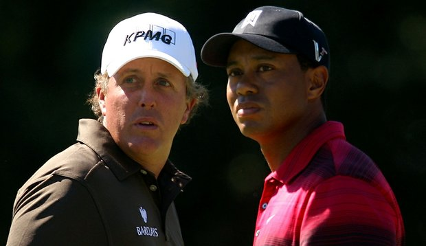 Phil Mickelson and Tiger Woods during the BMW Championship.