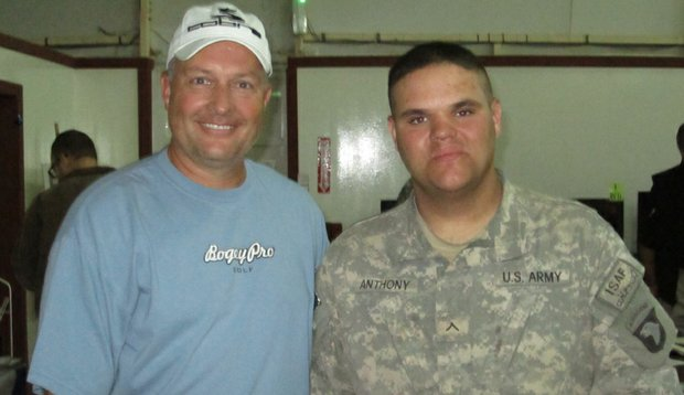 Dan Boever with Private Ralph Anthony from Ft. Campbell, Ky.