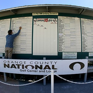 The scoreboard at the 2010 PGA Tour Qualifying Tournament at Orange County National.