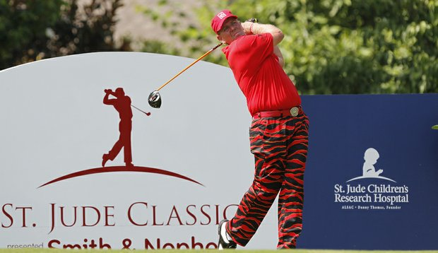 John Daly watches his tee shot on the 18th hole during the final round of the 2010 St. Jude Classic.