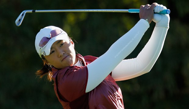 Amy Yang hits her tee shot on the fourth hole during the second round of the 2010 LPGA Tour Championship.