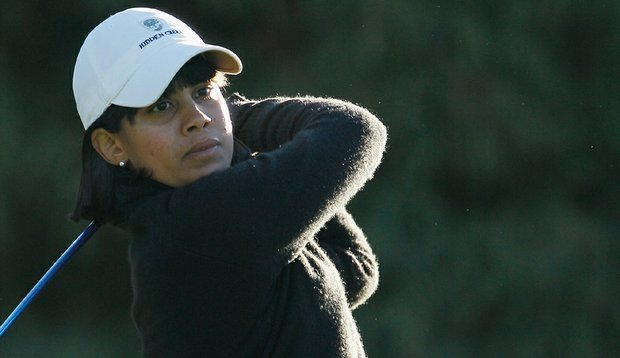 Julieta Granada hits her tee shot on the fourth hole during the second round of the LPGA Tour Championship.